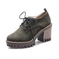 baratos Sapatos Femininos-Mulheres Camurça Outono & inverno Doce / Minimalismo Oxfords Salto Robusto Dedo Fechado Preto / Marron / Verde Escuro