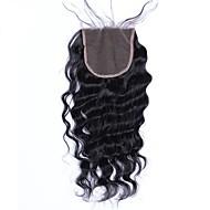 Dolago Brazil haj 4x4 lezárása Hullámos Ingyenes rész / Közel rész / 3. rész Francia csipke Remy haj / Emberi haj Női baba hajjal / 100% kézi csomózású / Csipkezárás