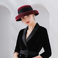 Elizabeth السيدة الرائعة ميسيل شعرت القبعات قبعة سيدات عتيق / معتق نسائي أسود / أحمر / قهوتي ببيونة CAP صوف تول ازياء