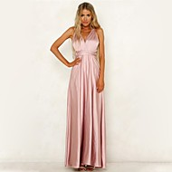 Women's Daily Basic Maxi Swing Dress - Solid Colored Backless Strap Summer Pink M L XL