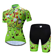 TELEYI Women's Short Sleeve Cycling Jersey with Shorts Green Floral Botanical Bike Clothing Suit Breathable Moisture Wicking Quick Dry Sports Polyester Floral Botanical Mountain Bike MTB Road Bike