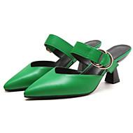 Mujer PU Primavera Zuecos y pantuflas Tacón Bajo Negro / Beige / Verde