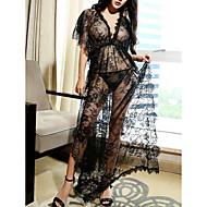 여성용 슈퍼 섹시한 레이스 란제리 / 가운 / 수트 잠옷 - 레이스, 선물 솔리드 / 딥 V