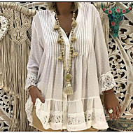 cheap -Women's Beach Blouses / Boho Plus Size Lace T-shirt - Solid Color Lace V Neck Pink XXXL