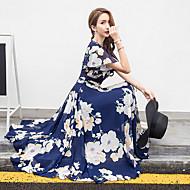 Women's Plus Size Holiday Beach Chiffon Swing Dress - Floral Print V Neck Spring Yellow Fuchsia Apricot XXXL XXXXL XXXXXL
