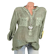 cheap -Women's Cotton Loose Shirt - Solid Colored Lace V Neck Pink XXXL