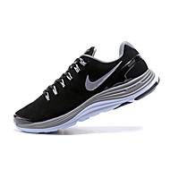 baratos Sapatos Masculinos-Homens Solas Claras Couro / Camurça Primavera & Outono Tênis Corrida / Aventura Absorção de choque Preto