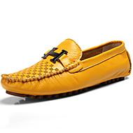 สำหรับผู้ชาย สไตล์อินเดียนแดง หนัง ฤดูใบไม้ผลิ & ฤดูใบไม้ร่วง ไม่เป็นทางการ / อังกฤษ รองเท้าส้นเตี้ยทำมาจากหนังและรองเท้าสวมแบบไม่มีเชือก นวด สีเหลือง / สีน้ำตาล / ฟ้า