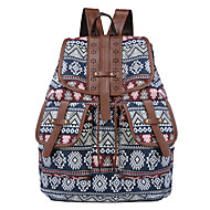 baratos Mochilas-Mulheres Bolsas Tela de pintura mochila Ziper Floral Azul / Verde / Azul Escuro