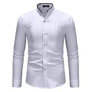Heren Standaard Overhemd Kleurenblok Opstaande boord Wit M / Lange mouw