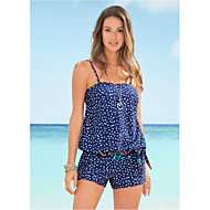 Dames Standaard blauw Boy Leg Bikini Zwemkleding - Polka dot M L XL