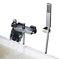 billige Rabatt Kraner-Dusjkran / Badekarskran - Moderne Krom Badekar Og Dusj Keramisk Ventil Bath Shower Mixer Taps / To Håndtak to hull