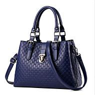 baratos Bolsas Tote-Mulheres Bolsas PU Tote Ziper Azul Escuro / Fúcsia / Vinho