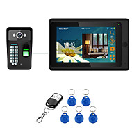 billige Dørtelefonssystem med video-7inch kablet / trådløst wifi fingeravtrykk rfid passord video dør telefon dørklokk intercom system upport fjernt app opplåsing av opptak