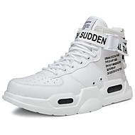abordables Chaussures de Course pour Homme-Homme Chaussures de confort Cuir Hiver Sportif / Décontracté Chaussures d'Athlétisme Course à Pied Ne glisse pas Slogan Gris / Noir et blanc / Rouge