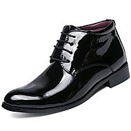 cheap Men's Boots-Men's Fashion Boots Patent Leather Fall & Winter Business / British Boots Keep Warm Booties / Ankle Boots Black