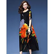 Γυναικεία Αργίες / Εξόδου Βίντατζ / Κομψό στυλ street Φαρδιά Γραμμή Α / Φαρδιά Φόρεμα - Φλοράλ Μίντι