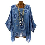 Dames Standaard Overhemd Effen blauw XXXL
