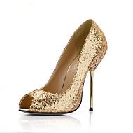 baratos Sapatos Femininos-Mulheres Sintéticos Outono / Primavera Verão Clássico / Minimalismo Saltos Salto Agulha Peep Toe Lantejoulas Prata / Roxo / Azul / Casamento / Festas & Noite