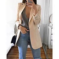 cheap -Women's Daily Basic Spring Regular Blazer, Solid Colored Notch Lapel Long Sleeve Polyester Pink / Gray / Khaki L / XL / XXL
