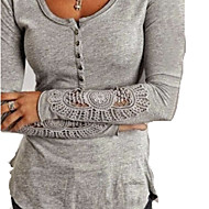Γυναικεία T-shirt Βασικό Μονόχρωμο Δαντέλα / Κουμπί / Κοίλο Λευκό L / Άνοιξη / Καλοκαίρι / Φθινόπωρο / Χειμώνας