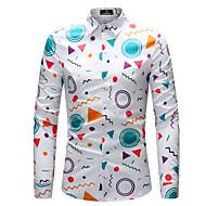 Муж. С принтом Рубашка Уличный стиль Геометрический принт Белый XXL / Длинный рукав