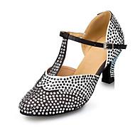 billige Moderne sko-Dame Moderne sko Sateng Høye hæler Rhinsten Kubansk hæl Kan spesialtilpasses Dansesko Svart / Hvit