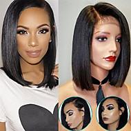 Virgin-hius Full Lace Lace Front Peruukki Bob-leikkaus tyyli Brasilialainen Suora Peruukki 130% Hiusten tiheys Hajuton Säädettävä Naisten Mukava 100% Neitsyt Luonnollinen Naisten Lyhyt