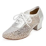 billige Jazz-sko-Dame Jazz-sko Syntetisk Høye hæler Tvinning Tykk hæl Kan spesialtilpasses Dansesko Gull / Sølv / Svart og Sølv