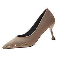 baratos Sapatos Femininos-Mulheres Couro Ecológico Primavera Casual Saltos Salto Agulha Tachas Preto / Khaki