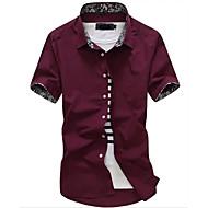 Alap Vékony Férfi Pamut Ing - Egyszínű Fekete XL / Rövid ujjú