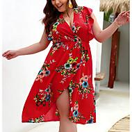 Mulheres Elegante Reto / Túnicas / Chifon Vestido - Frufru / Floral / Estampado, Floral Decote em V Profundo Acima do Joelho / Praia / Sexy