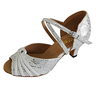 نسائي أحذية رقص PU صندل كعب كوبي مخصص أحذية الرقص أبيض