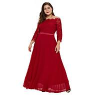 Women's Daily Basic Maxi Skinny Trumpet / Mermaid Dress Lace High Waist Off Shoulder Fall Red XXL XXXL XXXXL / Sexy