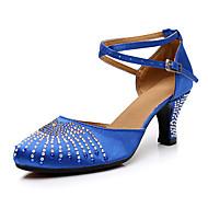 billige Moderne sko-Dame Moderne sko Syntetisk Høye hæler Gummi / Krystalldetaljer / Glimmer Kubansk hæl Kan spesialtilpasses Dansesko Blå