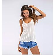 Damen Solide - Grundlegend Baumwolle Tank Tops, Gurt Patchwork Weiß M