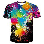 T-shirt Męskie Podstawowy / Przesadny, Nadruk Okrągły dekolt Wszechświat / 3D / Kreskówki Tęczowy XL / Krótki rękaw / Lato