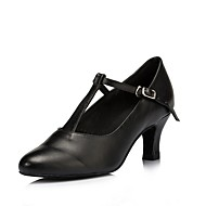 billige Moderne sko-Dame Moderne sko Lær Høye hæler Tvinning Kubansk hæl Kan spesialtilpasses Dansesko Svart