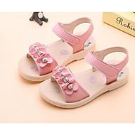 baratos Sapatos de Menina-Para Meninas Sapatos Couro Sintético Verão Conforto Sandálias para Infantil / Bébé Branco / Rosa claro