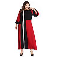 Жен. Большие размеры Элегантный стиль Оболочка Платье - Контрастных цветов Макси / Сексуальные платья