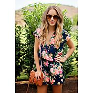 Mujer Diario / Playa Chic de Calle Escote en V Profunda Azul Marino Perneras anchas Mono, Floral Estampado M L XL Sin Mangas Primavera Verano