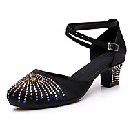 billige Moderne sko-Dame Moderne sko Syntetisk Høye hæler Gummi / Krystalldetaljer / Glimmer Kubansk hæl Kan spesialtilpasses Dansesko Svart