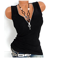 cheap -Women's Basic Cotton Tank Top - Solid Colored Zipper V Neck / Spring / Summer