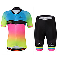 cheap -Miloto Women's Short Sleeve Cycling Jersey with Shorts - Rainbow Plus Size Bike Jersey, Reflective Strips, Sweat-wicking Spandex Gradient / Stretchy