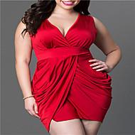 女性用 プラスサイズ タイト シース ドレス ソリッド 膝上 ディープVネック / セクシー