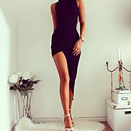 Kadın's Kulüp İnce Bandaj Elbise - Solid Asimetrik Yüksek Bel / Sexy