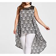 Γυναικεία Μεγάλα Μεγέθη Βαμβάκι Swing Φόρεμα Ασύμμετρο