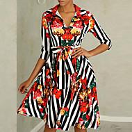 Dame Fest Grunnleggende Skjorte Kjole - Stripet Blomstret Geometrisk, Trykt mønster Skjortekrage Ovenfor knéet