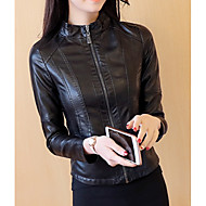 Women's Daily Spring Regular Jacket, Solid Colored Stand Long Sleeve Acrylic / Polyester Black XL / XXL / XXXL