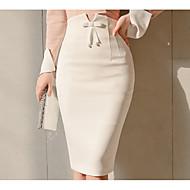 פפיון, שחור ולבן אחיד - חצאיות כותנה ליציאה / עבודה צינור בסיסי בגדי ריקוד נשים מותניים גבוהים / סקסית / רזה